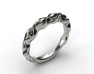 18K White Gold Sculpted Designer Wedding Ring