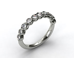 18K White Gold Marquise and Round Bezel Set Wedding Band