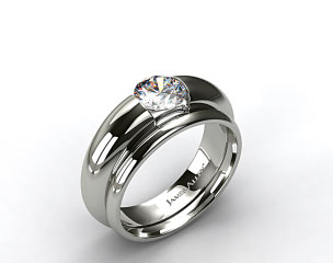 14k White Gold Round Brilliant Bar Set Solitaire Ring & 2mm Plain Wedding Band