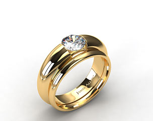 18k Yellow Gold Round Brilliant Bar Set Solitaire Ring & 2mm Plain Wedding Band