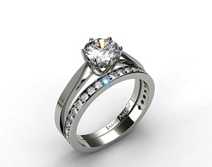 Platinum Tapered Six Prong Filigree Basket Solitaire Engagement Ring & 0.17ct Pave Set Wedding Ring