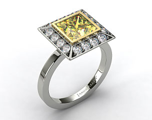 18k White Gold 0.33ct Frame Pave Set Diamond Engagement Ring (Yellow Gold Basket)