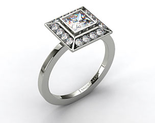 18k White Gold 0.33ct Frame Pave Set Diamond Engagement Ring