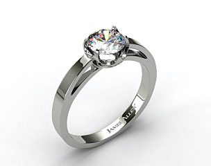 18k White Gold Six Prong Flat Tab Solitaire Engagement Ring