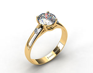 18k Yellow Gold 3.3 mm Cross Prong Diamond Accent Solitaire Ring