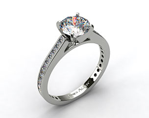 14k White Gold Thin Channel Set Princess Shaped Diamond Engagement Ring