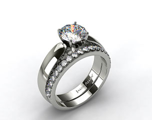 Platinum 3.8mm Rounded Cathedral Solitaire Engagement Ring & 0.57ctw Common Prong Wedding Ring