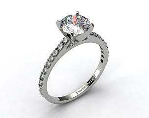 14k White Gold 0.54ct Common Prong Round Shaped Diamond Engagement Ring