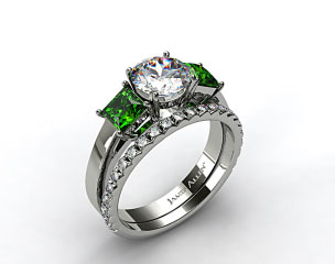 Platinum 3-Stone Carre Cut Emerald Engagement Ring & French Cut Pave Wedding Ring