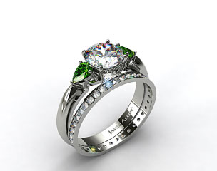 Platinum 3-Stone Pear Emerald Engagement Ring & 0.26ct Pave Diamond Eternity Band