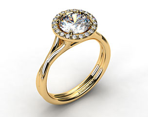 18k Yellow Gold Pave Halo Twisted Shank Solitaire