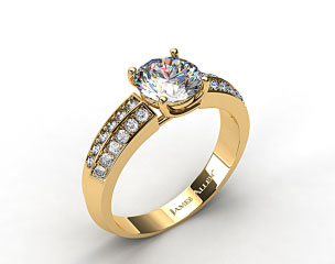 18k Yellow Gold 3.2-4.5mm Pave Knife Edge Engagement Ring