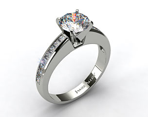 14k White Gold 0.60ct Channel Set Princess Shaped Engagement Ring