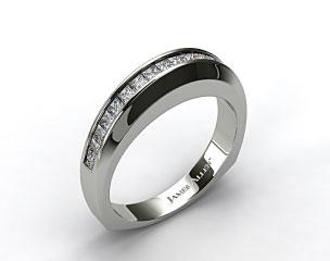 18K White Gold 0.40ct Square Shank Channel Set Princess Shaped Diamond Wedding Band