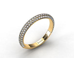 18K Yellow Gold 0.58ctw Rounded Pave Set Diamond Wedding Ring
