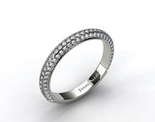 14k White Gold 1.15ctw Rounded Pave Set Diamond Wedding Ring