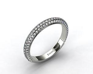 14K White Gold 1.15ctw Rounded Pave Set Diamond Wedding Ring