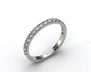 18k White Gold 0.42ct Art-Nouveau Pave Set Diamond Wedding Ring