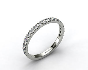 14K White Gold 0.29ct Art-Nouveau Pave Set Diamond Wedding Ring