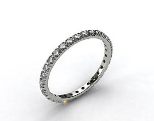 18K White Gold Thin French-Cut Pave Set Diamond Eternity Wedding Ring
