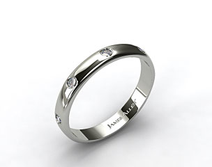 14k White Gold 3mm Bezel Set Diamond Wedding Ring