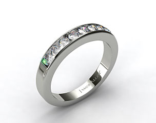 14K White Gold 0.45ct Channel Set Round Diamond Wedding Ring