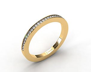14K Yellow Gold 1.8mm, 27 Stone, 0.19ctw Matching Pave Wedding Band