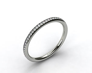 14k White Gold 2mm, 48 Stone, 0.27ctw Matching Pave Wedding Band
