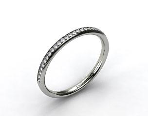 14K White Gold 2mm, 24 Stone, 0.16ctw Matching Pave Wedding Band