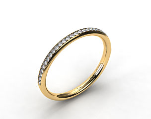 18KYellow Gold 2mm, 24 Stone, 0.16ctw Matching Pave Wedding Band