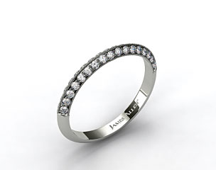 18K White Gold Pave Knife Edge Matching Lotus Band