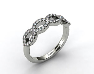 18K White Gold Pave Infinity Diamond Wedding Ring