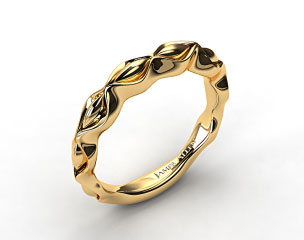 18k Yellow Gold Sculpted Designer Wedding Ring