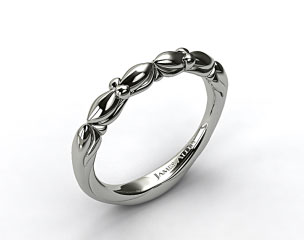 Platinum Twisted Four Prong Ribbon Wedding Ring