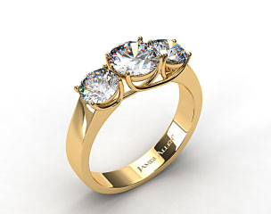 18k Yellow Gold 1.00 Carat Total Weight Three Stone Cross Prong Diamond Engagement Ring