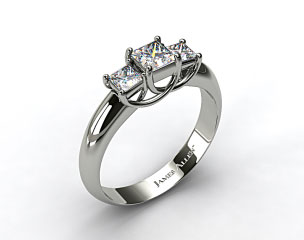 18K White Gold 0.50 Carat Total Weight Three Stone Princess Shaped Engagement Ring