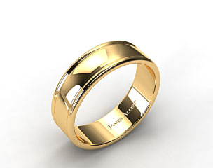 18k Yellow Gold 8mm Grooved Edge Comfort Fit Wedding Band