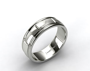 6mm Slightly Flat Comfort Fit 18k White Gold Mens Wedding Band