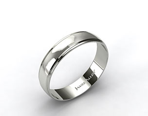 14k White Gold 6mm Grooved Comfort Fit Wedding Band