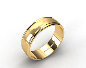 18K Yellow Gold 8mm Grooved Comfort Fit Wedding Band