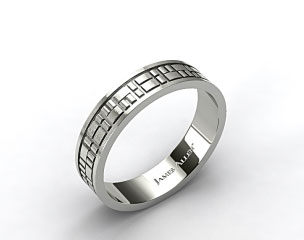 18k White Gold 6mm Art Deco Comfort Fit Wedding Band