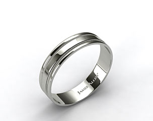 18k White Gold 6mm Milgrained Edge Comfort Fit Wedding Band