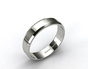 14k White Gold 6mm Beveled Comfort Fit Wedding Band