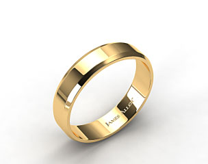 14k Yellow Gold 6mm Beveled Comfort Fit Wedding Band