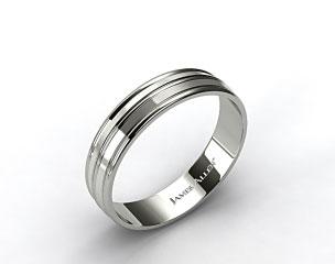 Platinum 6mm Grooved Comfort Fit Wedding Band