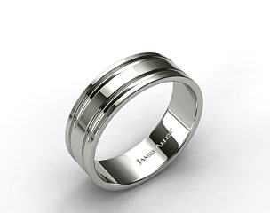 Platinum 8mm Grooved Comfort Fit Wedding Band