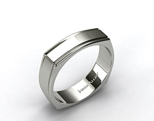 14k White Gold 7mm Squared Groove Comfort Fit Wedding Band