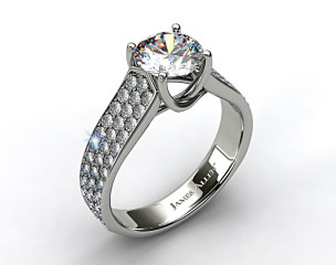 18k White Gold Cross Prong Pave Set Diamond Engagement Ring