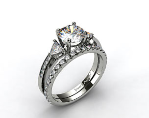 Platinum 3-Stone, Pave Diamond Engagement Ring & French Cut Pave Diamond Wedding Ring