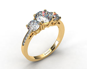 18k Yellow Gold Three Stone Round and Pave Set Diamond Engagement Ring